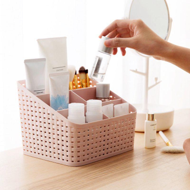Urijk 5 Slots Grid Makeup Organizer Desktop Storage Case Cosmetics Storage Box Plastic Multi-grip Imitation Rattan Rack
