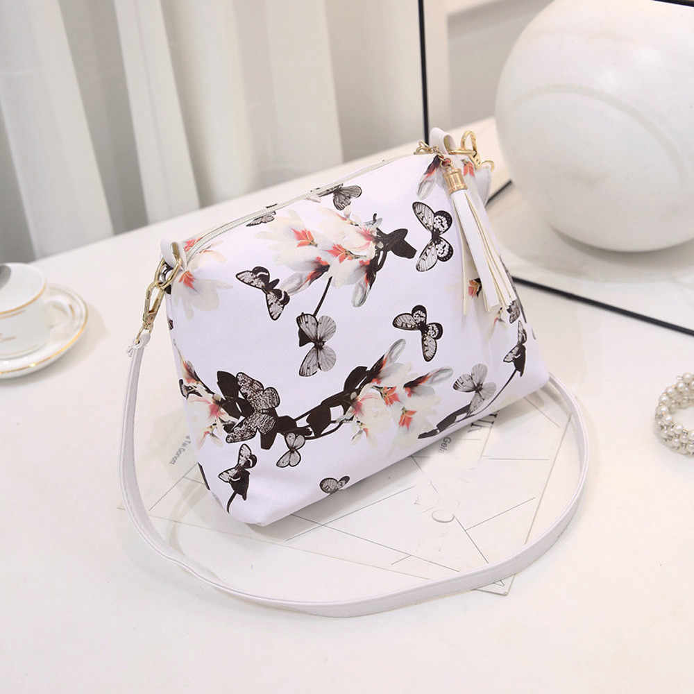 Maison Fabre Maison Fabre Small Bags for Women Fashion Tassel Flower Handbag Female Vintage PU Shoulder Bags Ladies Floral Totes
