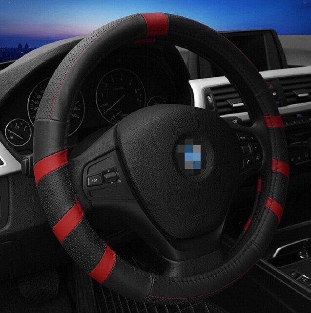 Top Leather Luxury Car Steering Wheel Cover Universal 4 Seasons 38cm
