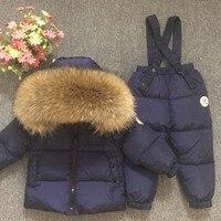 Русский зимний детский зимний комбинезон Роскошный натуральный мех водонепроницаемый толстый теплый детский лыжный костюм для мальчиков