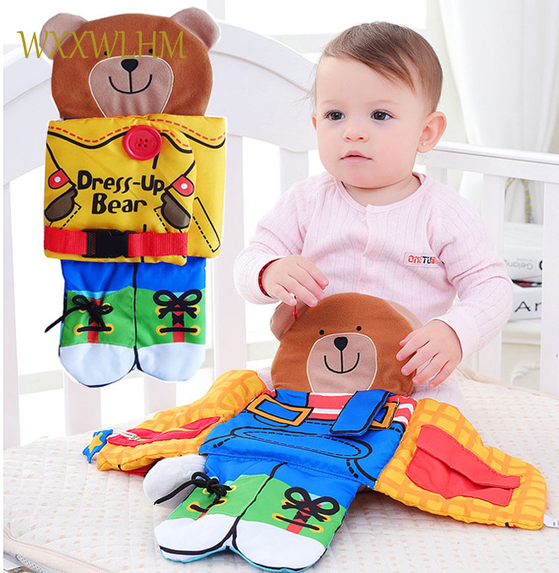 Bear clothing zipper button three-dimensional cloth book baby multi-purpose baby puzzle cloth book stuffed plush baby toys