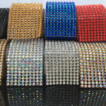 Free ship,crystal rhinestone banding,10rows/pcs,width 3cm,fancy wedding dress belt trimming,hotfix iron on decorative banding