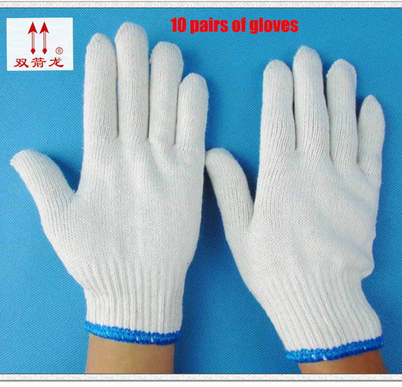 2017 new gloves white wear large code gloves cotton cotton encryption gloves10 21*10protect double / package 1 double cotton gloves white green