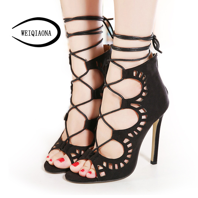85862d14b166ea WEIQIAONA Plus size 35-43 Women Pumps Brand Designer High Heels Cut Outs  Lace Up Open Toe Party Shoes Woman Gladiator Sandals