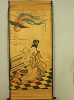 Antique malarstwo tradycyjne chińskie piękne kobiety chui xiao przyciąga phoenix malarstwo przewiń malarstwo, starego papieru malowanie