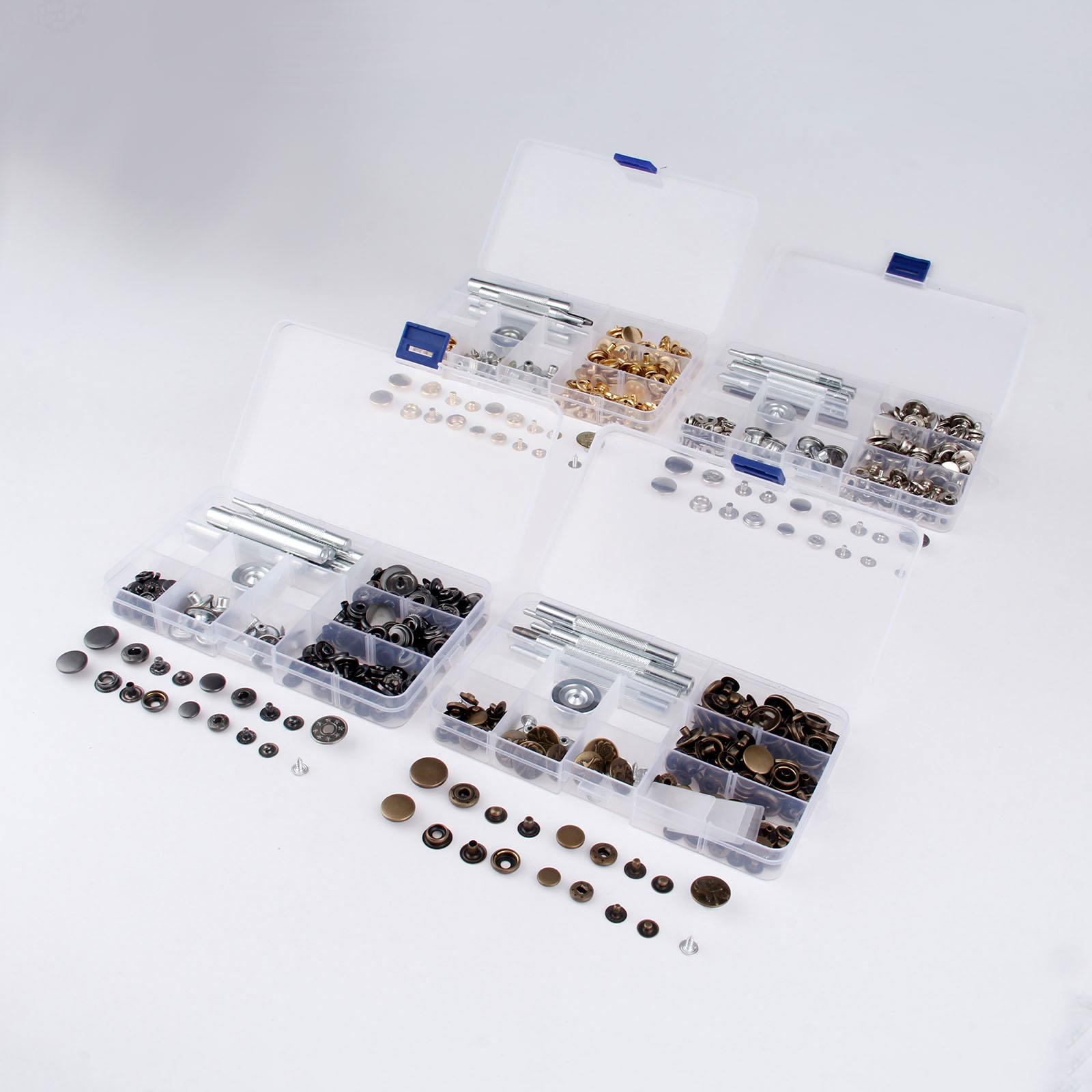 50 Set 10-17mm Metal DIY Sewing Snap Fastener Press Stud Buttons Leather Craft Jeans Button+9pcs Fixing Tools Kit+Storage Box