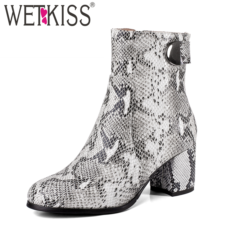 WETKISS Thick High Heels Women Boots Round Toe Snake Print Zip Footwear Cow Leather Female Boot