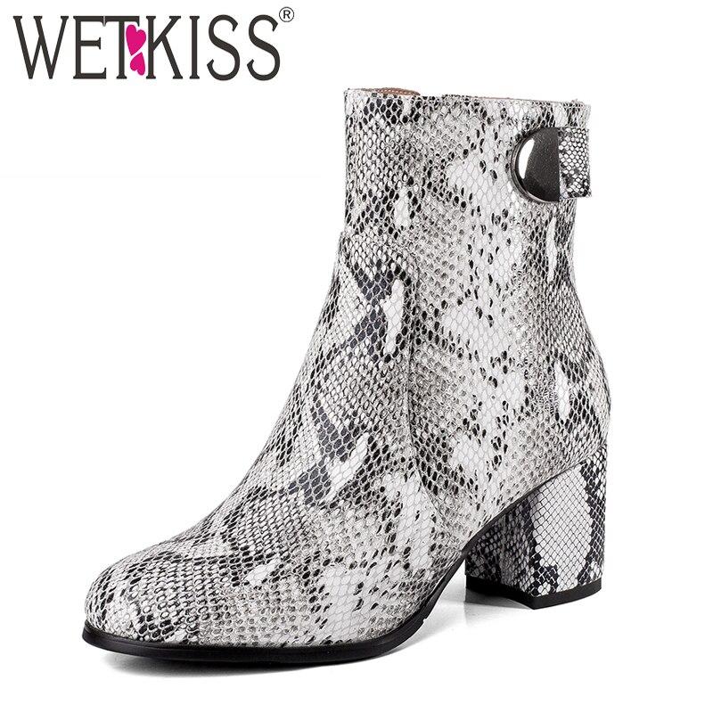 WETKISS Thick High Heels font b Women b font Boots Round Toe Snake Print Zip font