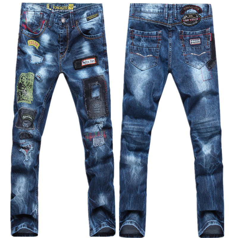 TR Designer Biker Jeans Brand Printed Skinny Black Ripped Jeans Men Dsq Pencil Hole Elastic ...
