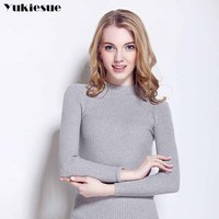 Simplee Elegant Halter Knitted Sweater 2017 Autumn Winter Pullovers Women Sweaters And Pullover Tops Slim Casual
