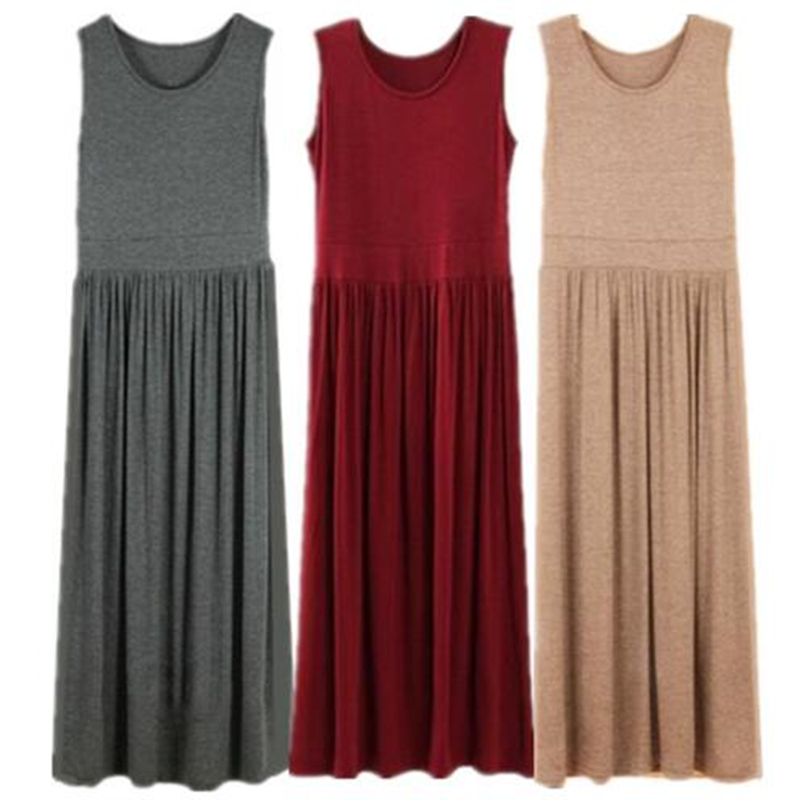 Plus Size XS-5XL <font><b>6XL</b></font> Spring Summer Comfort Pleated Full <font><b>Dress</b></font> High Solid Color Casual Maxi Bohemian Party <font><b>Sexy</b></font> <font><b>Dress</b></font> Vestidos image
