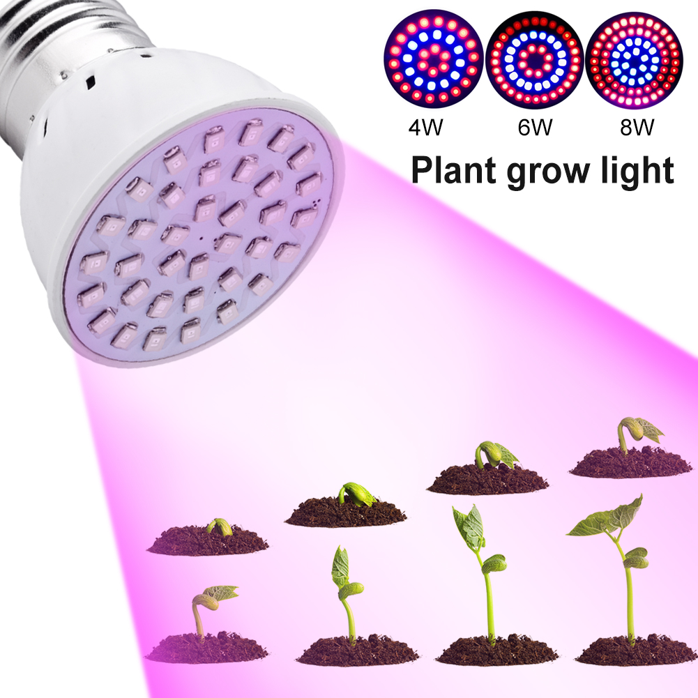 TSLEEN 4W 6W 8W Led Grow Light AC220V/110V E27 E26 Red/Blue Hydroponic LED Plant Indor Grow Lights LED Bulb LED Growth Lamp