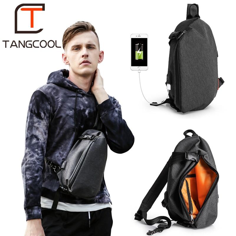 Tangcool Fashion Men Messenger Bag Men USB Charging Design Man Chest Bag Pack Anti Theft Shoulder Crossbody bags for Men Travel