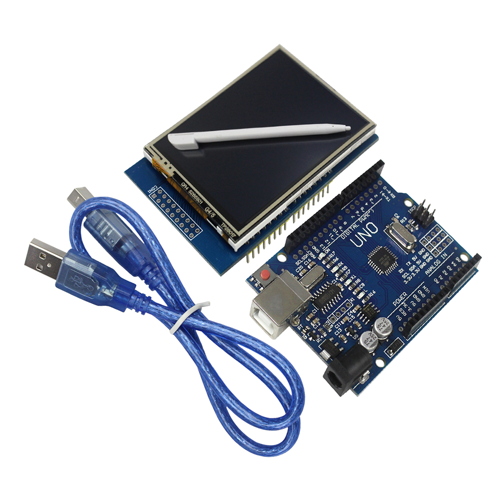 <font><b>2.8</b></font> <font><b>inch</b></font> <font><b>TFT</b></font> <font><b>LCD</b></font> Touch Screen Display Module + Uno R3 Development Board for DIY KIT image