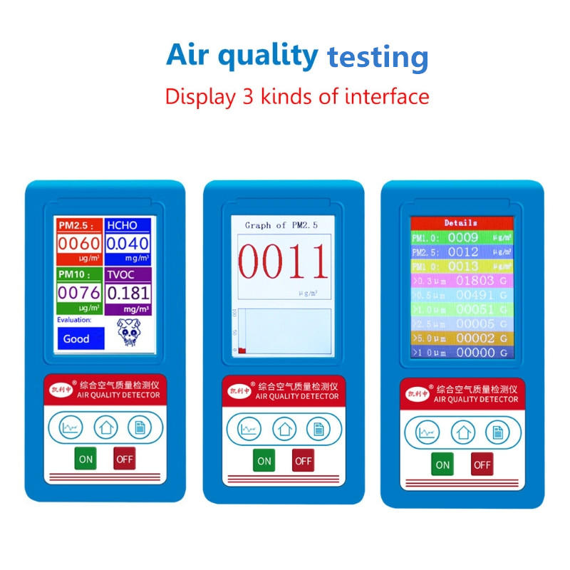 Air Quality Monitor Formaldehyde Detector PM2.5 /1.0/10 Gas Analyzer HCHO Tester  Air Quality Monitor Formaldehyde Detector PM2.5 /1.0/10 Gas Analyzer HCHO Tester