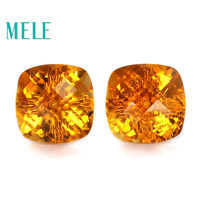 Natural citrine earrings stud for women and girl with real 18k gold,8mm square cut fashion trendy simple gemstone Statem jewelry
