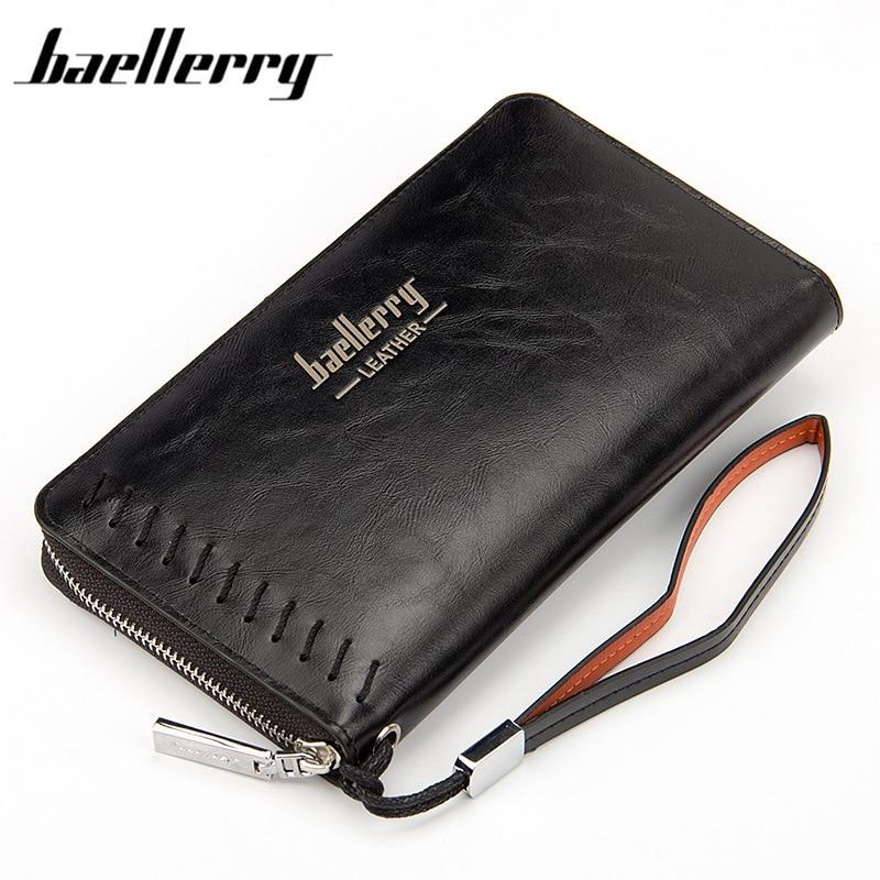 Baellerry 2017 Perniagaan Vintage Jenama Lelaki dompet Panjang Zipper - Dompet