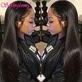 7a silkylong brasileña llena del cordón pelucas de pelo humano para las mujeres negras Pelo virginal Recta Del Frente Del Cordón Pelucas de Pelo Humano Con El Pelo Del Bebé