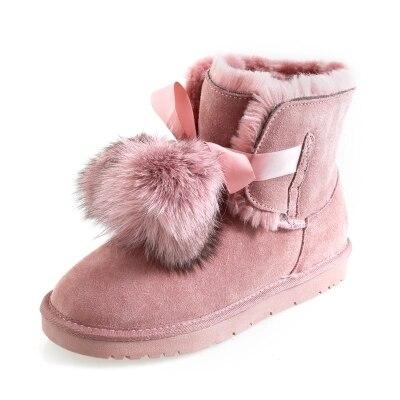 1 De Invierno No Las Cuero Algodón 4 Nueva Mujeres 2 5 Mujer Tobillo Bola Botas 3 slip Pelo Nieve fF46x