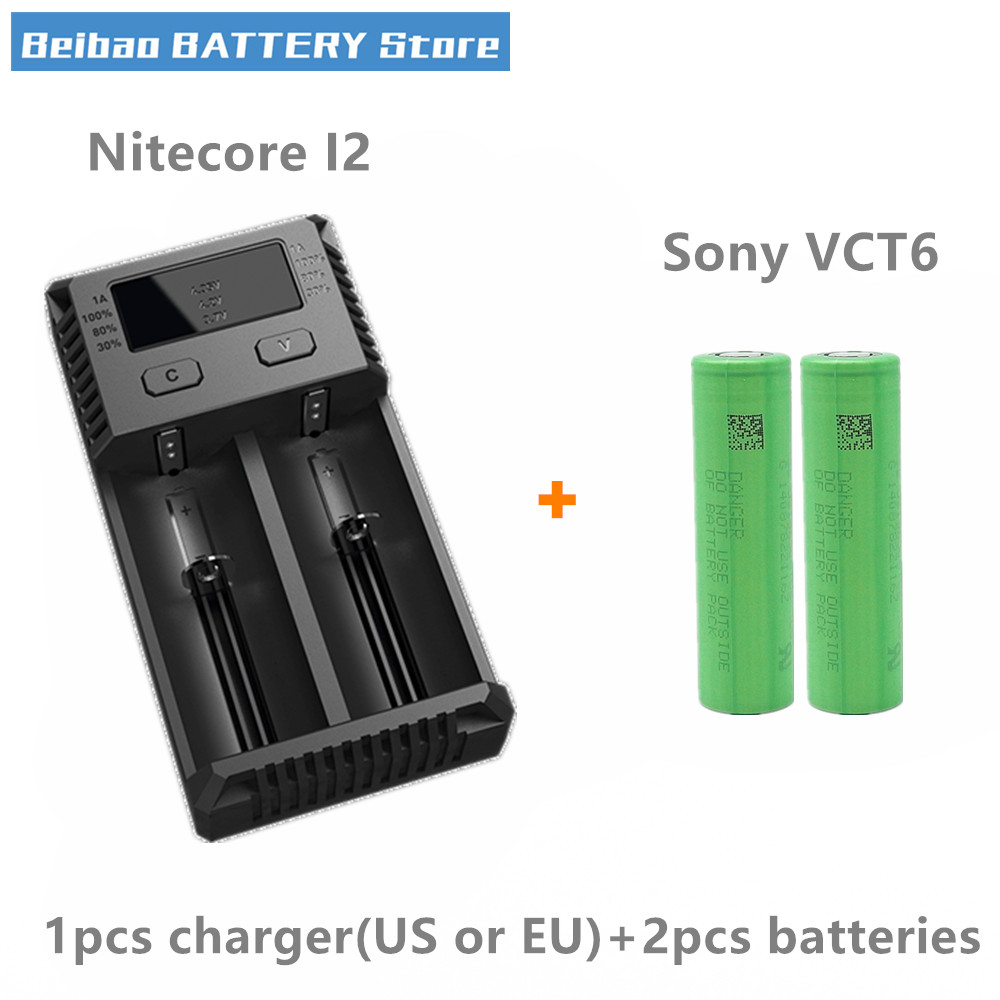 2pcs For For Sony US18650VTC6 VTC6 3120mah 30A IMR 18650 rechargeable battery with Nitecore New I2 XTAR VC2 charger LCD CHARGER