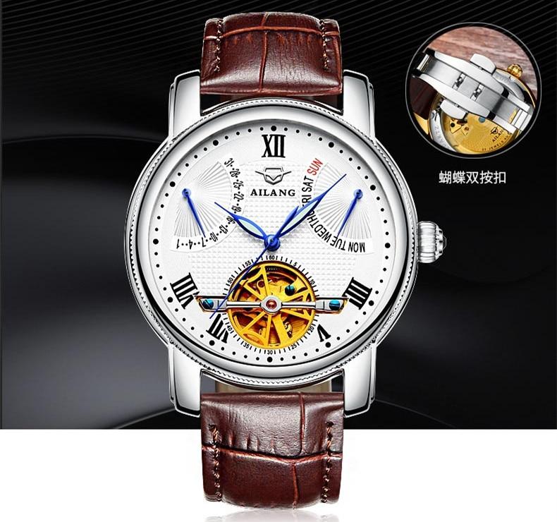 AILANG, новинка, римские мужские многофункциональные турбийон часы, автоматические, заводные, настоящая кожа, наручные часы, неделя, Calendar Relojes W022 - 2
