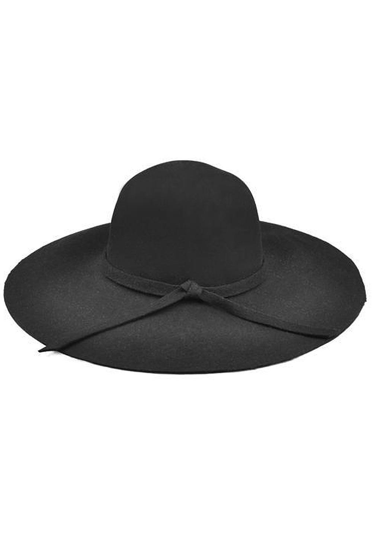 2017 NEW Black Soft Ladies Floppy Wide Brim Cloche Hat Retro Wool Bowknot zlyc women winter wool felt wide brim fedora bowler hat floppy cloche bowknot cap