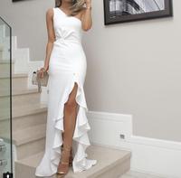 Irregular one shoulder party dress Women Summer elegant white bodycon dress Twisted ruffles slit hem dresses vestidos mujer