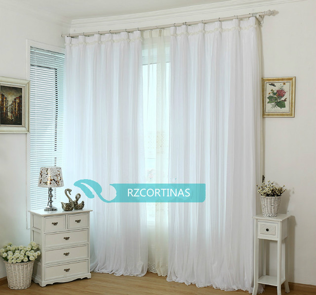 Lace And Satin Fabric 2 Layers Curtains Romantic Pink Blue White