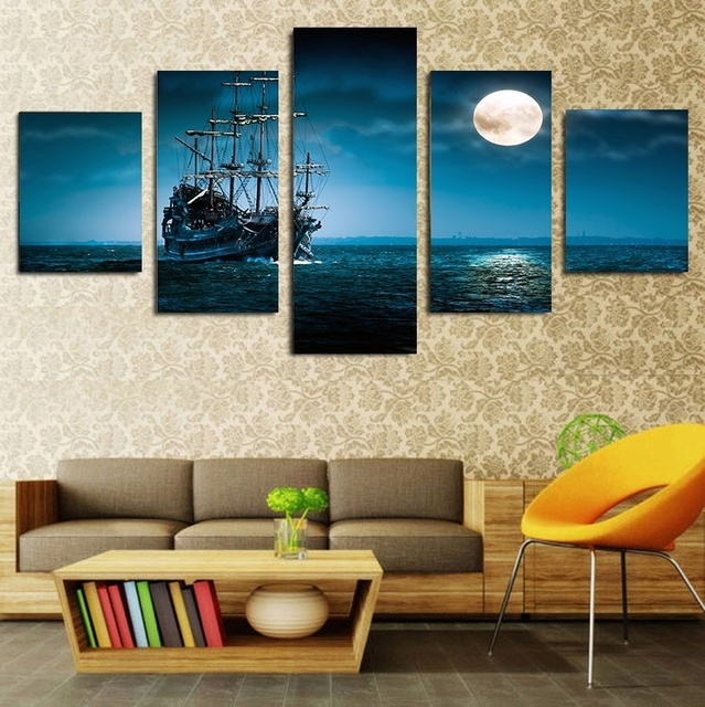 2017 New Style Framed painting Ship Moonlight canvas wall art 5 ...