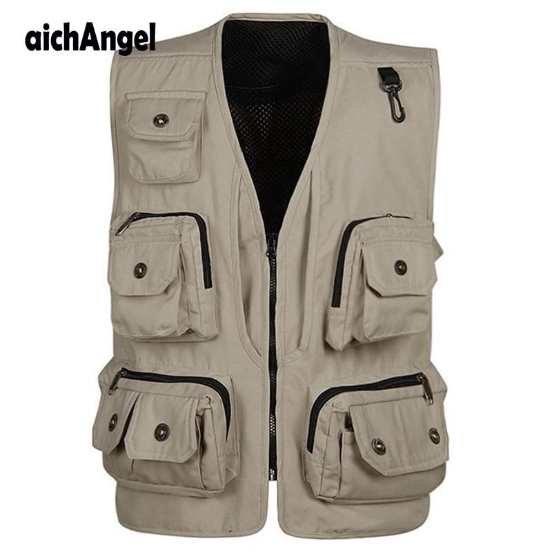 Men's Multi pocket Photography Vest Men Casual Reporter Director Traveler Sleeveless Jackets Waistcoat Casual Vest