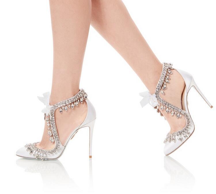 Zapatos de boda de satén blanco elegante de novia Bling de cristal borla de encaje de tacón alto de mujer plus tamaño 10 - 2