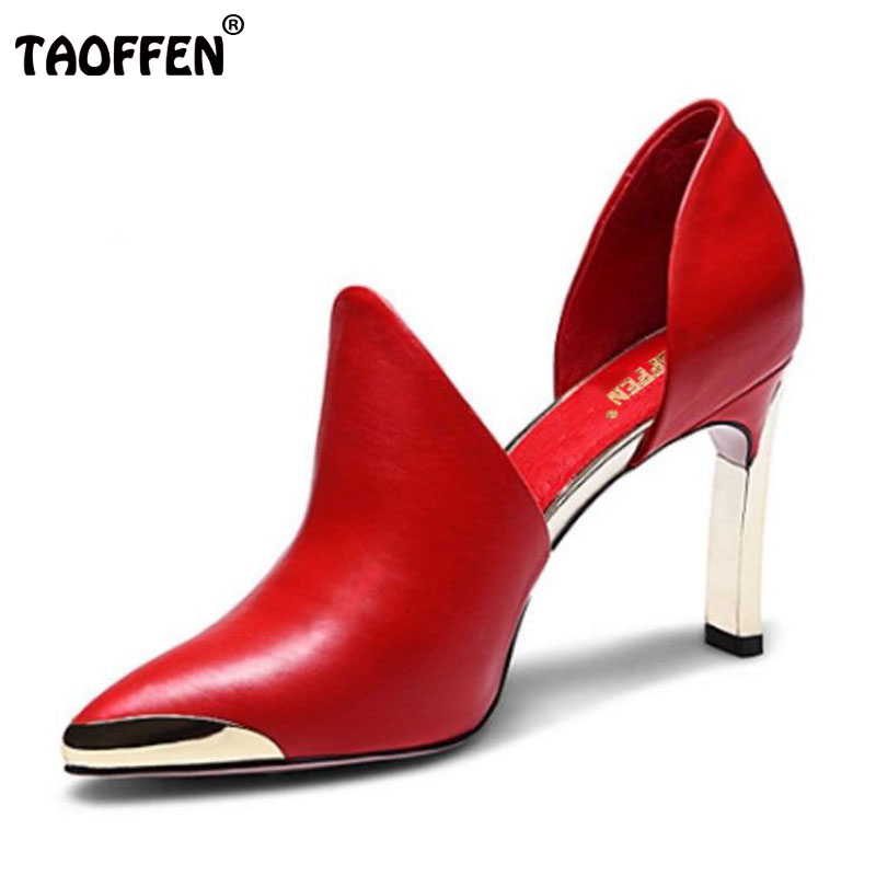 TAOFFEN women real leather stiletto pointed toe high heel shoes brand sexy fashion pumps ladies heeled shoes size 34-39 R6089 new 2017 spring summer women shoes pointed toe high quality brand fashion womens flats ladies plus size 41 sweet flock t179