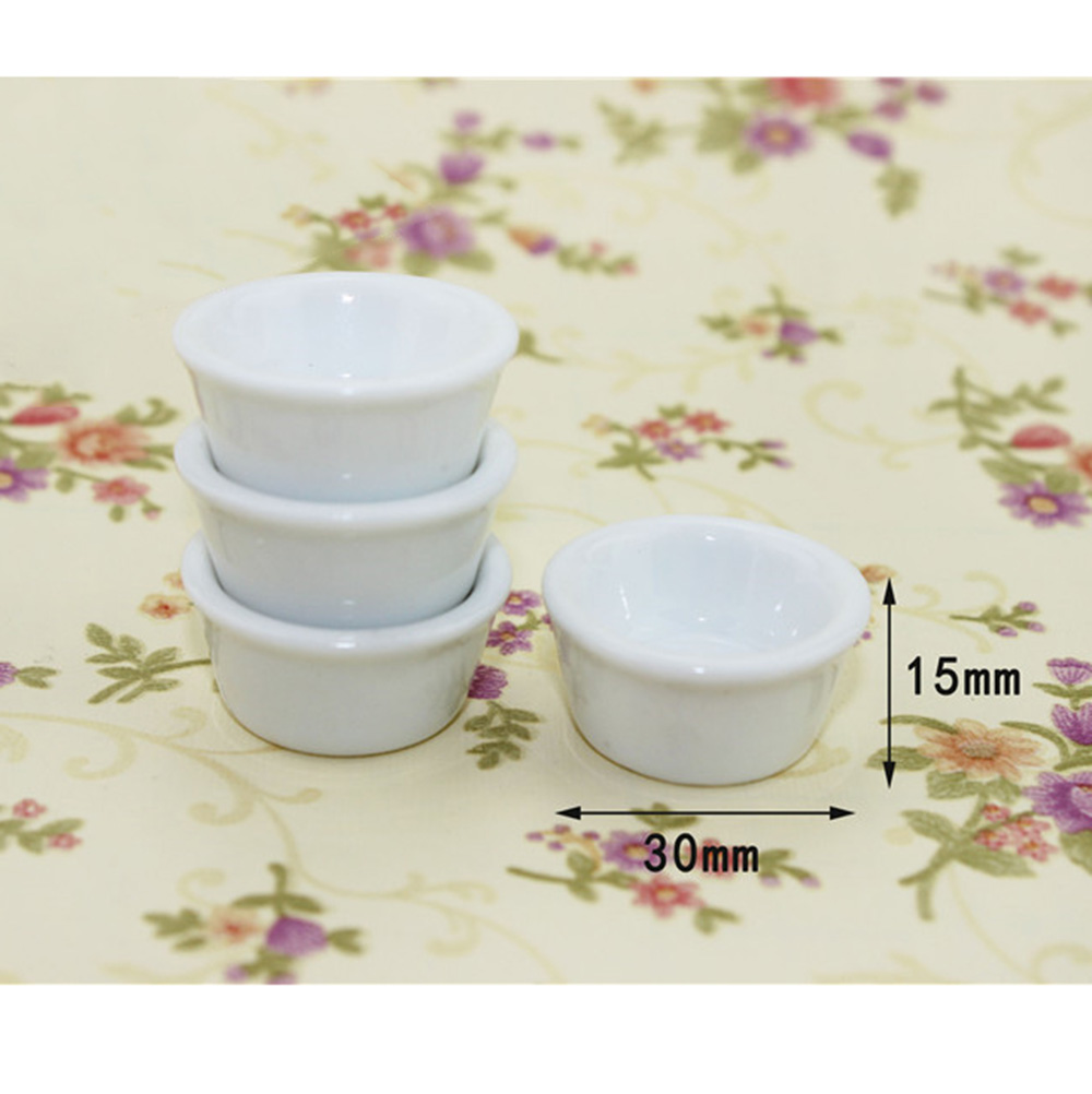 4Pcs 1/12 Dollhouse Miniature Accessories Mini Ceramic Soup Plate Pot Simulation Furniture Kitchen Dish Toy For Doll House Decor