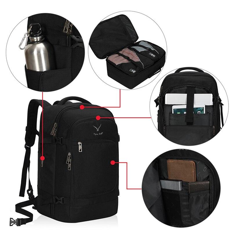 Sacs à dos de voyage de marque Hynes Eagle 40L vol approuvé sac à dos de bagage sac à dos noir sac à dos pour ordinateur portable Daypacks décontracté és