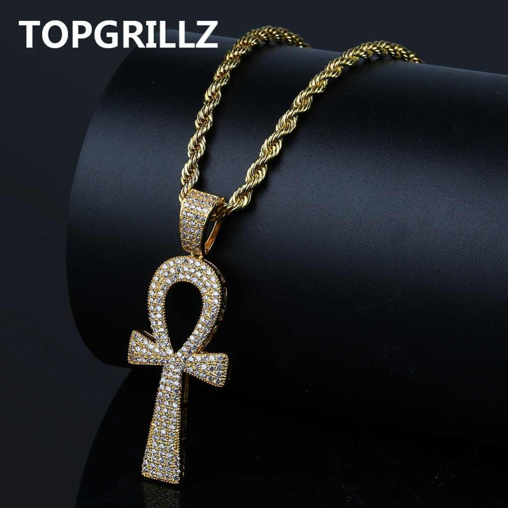TOPGRILLZ Hip Hop New Style Ankh Necklace Copper Gold/Silver Color Plated Micro Paved AAA CZ Stone Pendant Necklace Rope Chain