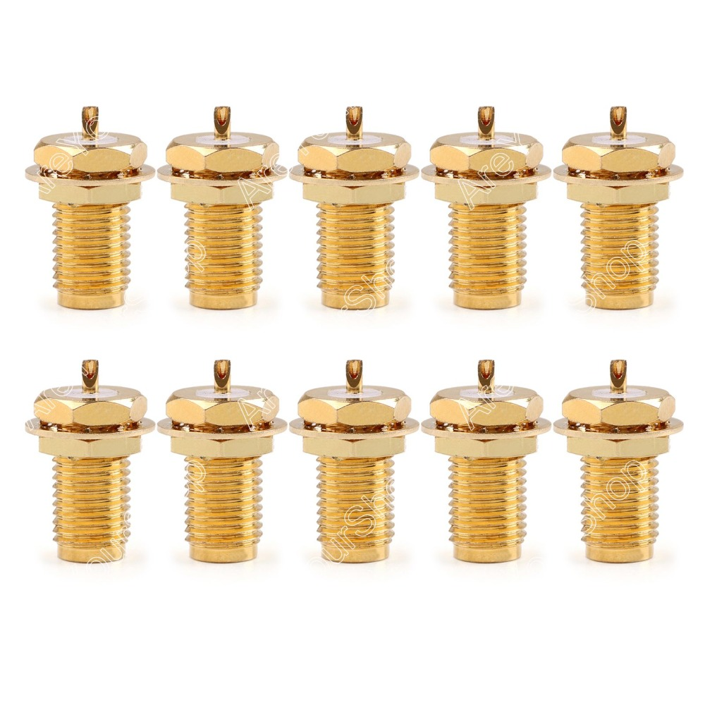 Areyourshop Sale 10 Pc Connector RP.SMA Female Plug Bulkhead Solder Panel Mount Straight  minijack p high quality 10 pcs x bnc female nut bulkhead solder rf connector adapters