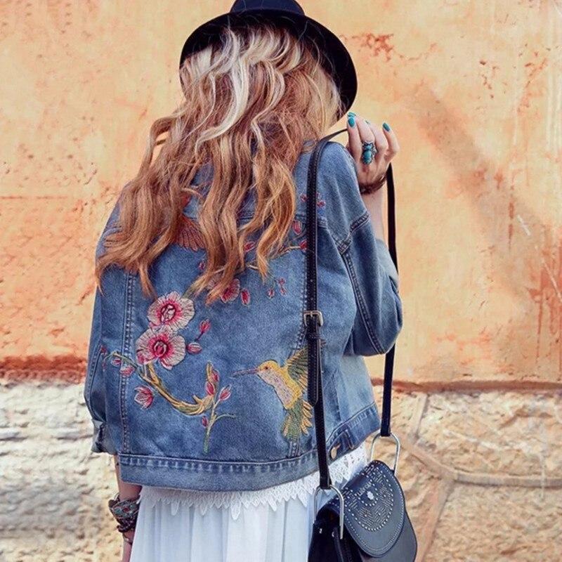 Vintage Blue Pockets Flower Embroidery Denim Jacket 2016