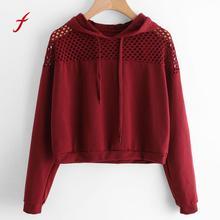 FEITONG Women Hoodie Sweatshirt Jumper Long Sleeve Crop Top Tracksuit Pullover Fashion Hollow Out Autumn Winter Hoody Shirt