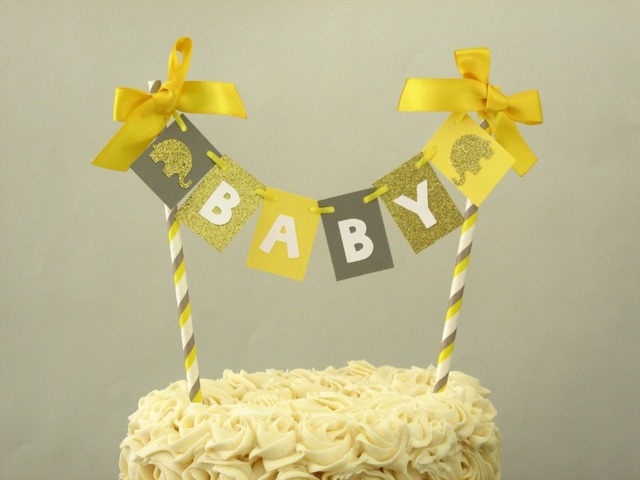Yellow Gray Elephant Baby Shower Cake Topper Banner Yellow Gray Baby