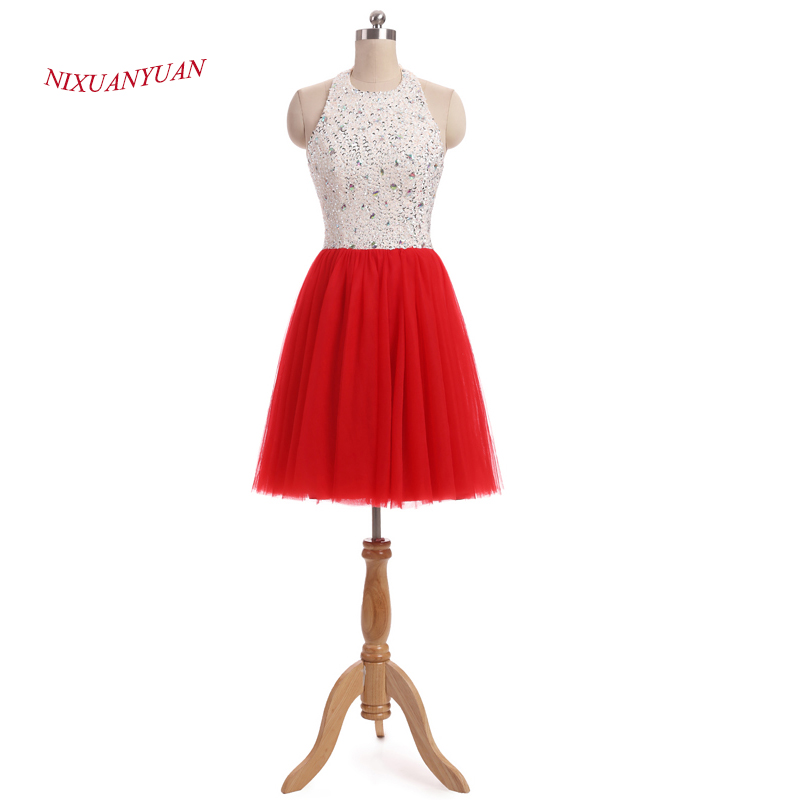 NIXUANYUAN Real Photo Halter Red Tulle   Cocktail     Dresses   2017 A Line Imported Party   Dress   Short Beaded vestidos de   cocktail