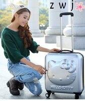 Hello kitty 3D Детский чемодан на колесиках с героями мультфильмов, багаж на колёсиках, 18 дюймов, Женский багаж принцессы с жесткой стороны