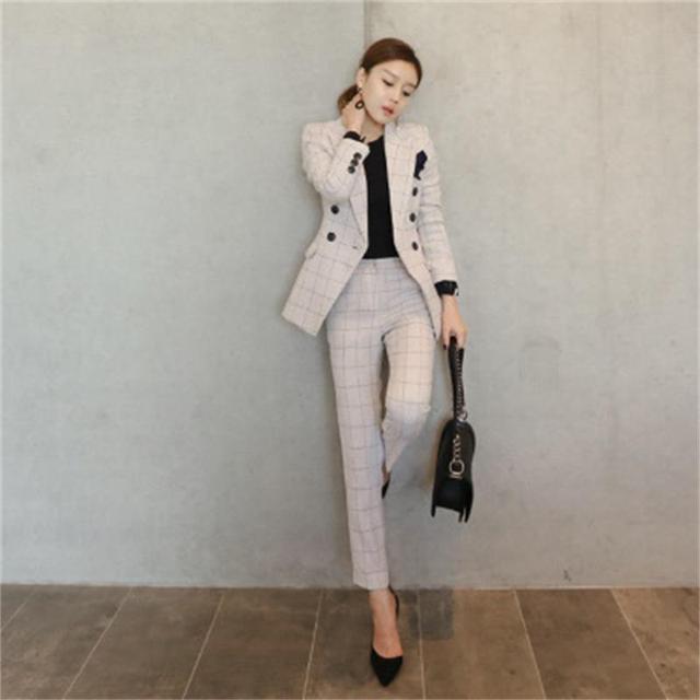 fb7a5a50009 Женские деловые костюмы 2018 модные женские брюки костюм Тонкий костюм  куртки с брюками офисные женские формальные