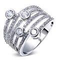 Модные женская обручальные кольца платины покрытием с W / AAA цирконий проложить установка украшения для женщин Hot Anillos