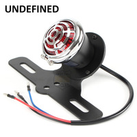 Motorcycle Round Chrome Red Lens LED Tail Brake License Plate Light Holder Mount For Fits Harley Choppers Bikes UNDEFINED