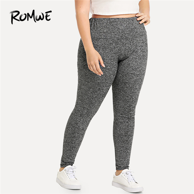Romwe Sport Plus Size Black Elastic Waist Skinny Gym Sports Pants Blue Women  Yoga Tights 2018 New Grey Female Fitness Leggings -in Yoga Pants from Sports  ... 396d0ed685d3