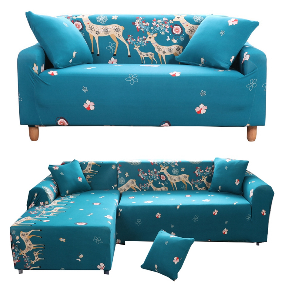 Blue Cartoon Christmas Deer Universal Stretch Sofa Covers
