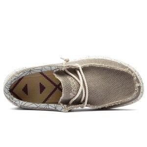 Image 2 - 2019 夏男性のキャンバスシューズ男性ビジネスカジュアルシューズ快適なレースアップローファーの靴男性男性運転靴ビッグサイズ 47