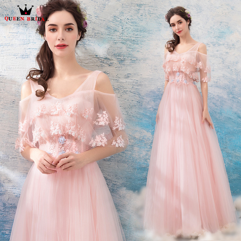 A-line Cape Tulle Lace Flowers Beaded Pink Formal Evening Dresses 2018 New Fashion Party Dress Evening Gowns Robe De Soiree NT82