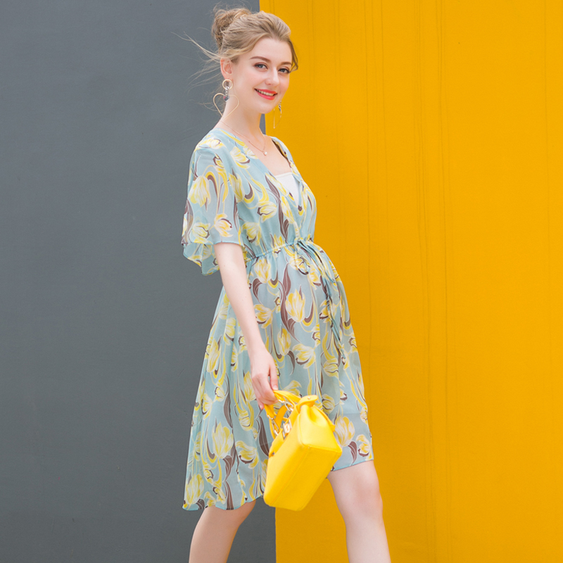 Maternity Dress Chiffon floral skirt shirt short sleeved summer summer loose fashionable mom slim belt women fashion dress casual solid color chiffon high waist double chiffon short skirt puff pleated big swing half skirt l05