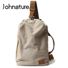 Johnature 2020 New Vintage Waterproof Canvas Bag Leisure Outdoor Men Crossbody